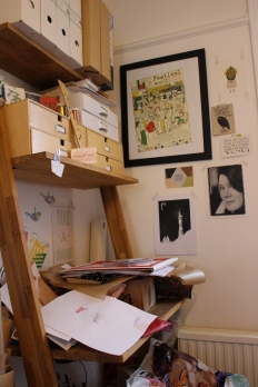 This is my sewing corner...in a state of organized chaos.